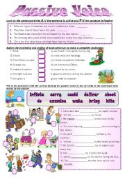 English Worksheet: PASSIVE VOICE B/W + KEY INCLUDED