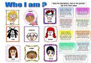 English Worksheet: WHO I AM? PHYSICAL DESCRIPTION