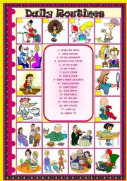 English Worksheets: Daily Routines: matching � pictionary � B&W version included � 2 pages � fully editable