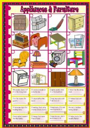 English Worksheet: Furniture & Appliances: vocabulary � riddles � matching � keys included � 2 pages � fully editable