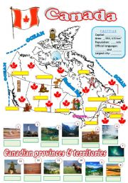 English Worksheet: Map of Canada - 2 (fully editable)