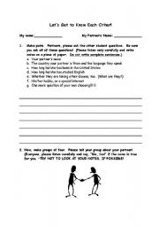 English Worksheets: Getting to Know You:  Pairs/Groups