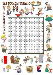 English Worksheet: REGULAR VERBS - wordsearch (B&W + KEY included)