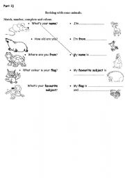 English Worksheets: Revising with some animals part 1