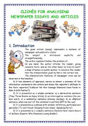English Worksheet: Cliches for Analyzing Newspaper Essays and Articles