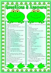 English Worksheet: Questions & Answers with the frogs: matching activity � writing abilities � reading comprehension for beginners � grammar (to be, present simple, interrogative pronouns, there to be, present continuous) � B&W version � teacher�s handout with keys � 3 page