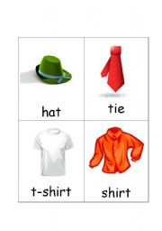 Clothes Flash Cards Set 1 (12 cards)
