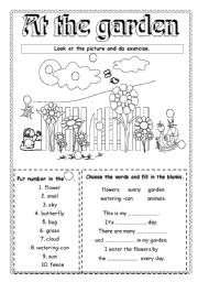 English Worksheet: At the garden