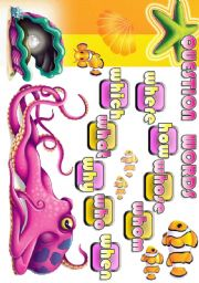 English Worksheets: QUESTION WORDS - 4 all lvls SEA LIFE part 1 POSTER