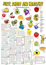 English Worksheet: JUICY, SWEET AND HEALTHY *fruit* (B&W + KEY included)