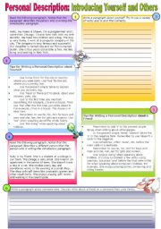 English Worksheet: Beginning Writing-Introducing Yourself and Others