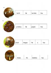 English Worksheet: sequence gruffalo sentences