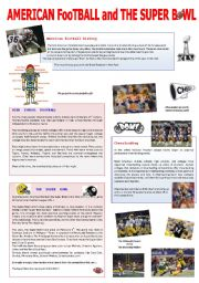 English Worksheets American Football And The Super Bowl