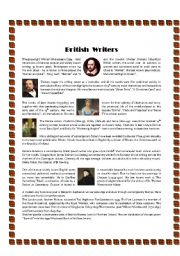 English Worksheets: British Writers