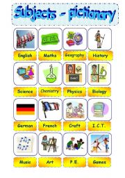 English worksheet: school subjects - Part 1 = pictionary - editable