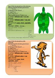 English Worksheets: Describe the wildlife representatives properly! Using lots of constructions to describe animals.