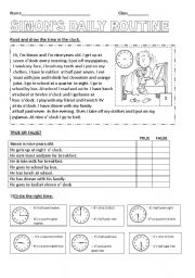 English Worksheets: simon�s day