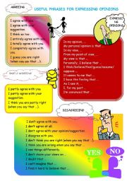 English Worksheet: expressing ideas and opinions - single words and phrases