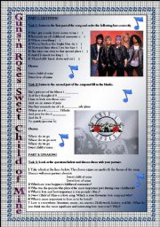 English Worksheet: Guns´n Roses Sweet Child of Mine-LISTENING and SPEAKING activities. Key included