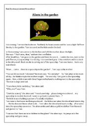 English Worksheets: Aliens in the Garden  / Story