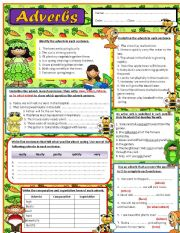 English Worksheets: ADVERBS  - Editable w / Answer key