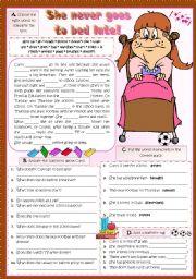 English Worksheets: She never goes to bed late!