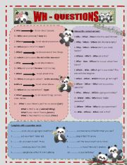 English Worksheets: WH - QUESTIONS