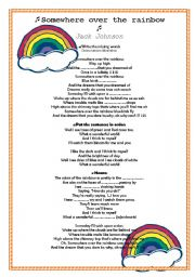 English Worksheet:  Song. Somewhere over the rainbow.