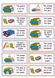 English Worksheet: Dominoes: school objects • prepositions • 28 dominoes • 7 school objects and prepositions • editable