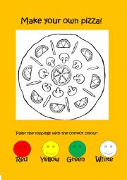 English Worksheet: Make your pizza! A great game for kids * Teaches colours * teaches food vocabulary *looks delicious