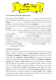 English Worksheet: CONSOLIDATION TASKS FOR BAC PUPILS  :UNIT 2: EDUCATION /