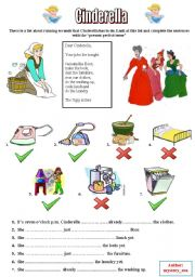 English Worksheet: Cinderella - Household Chores + p. perfect tense