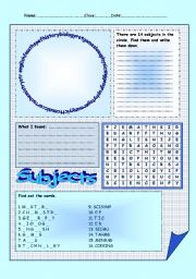 school subjects - Part 2 = 4 puzzles - 2 pages - editable - key included
