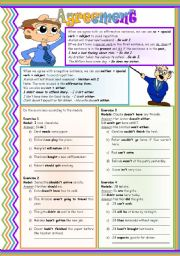 English Worksheets: Agreement: so + special verb � neither + special verb � not + either � (understanding and practicing) � grammar guide � examples � 4 drills � B&W version � handout with keys � 3 pages � editable