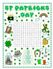English Worksheet: St Patrick´s Day wordsearch and number the pictures