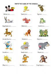 English Worksheets: Cartoon Animals