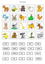 English Worksheet: Animals - cut and paste
