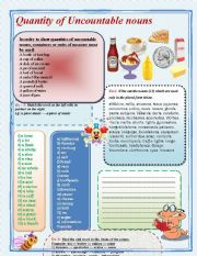 English Worksheet: Quantity of uncountable nouns