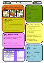 English Worksheets: Food homework