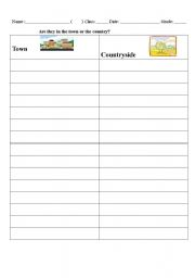 English Worksheet: Town or Countryside?