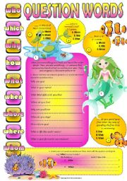 English Worksheets: QUESTION WORDS - 4 all lvls SEA LIFE part 2 WORKSHEET