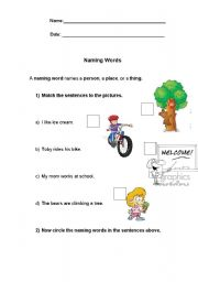 English worksheets: nouns naming words worksheets