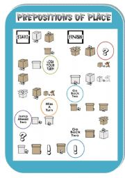 English Worksheet: Prepositions of place BOARD GAME