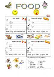 English Worksheet: Likes and dislikes (food)