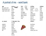English Worksheets: A portrait of me - word mat
