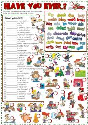 English Worksheet: Have you ever...? *matching/writing/speaking* (KEY included)