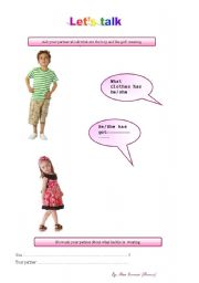 English worksheet: My clothes -part 2/ Let´s talk