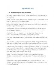 English Worksheets: The Little Boy Star