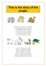 English Worksheet: The story of the jungle (TPR activity)