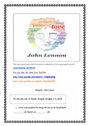 English Worksheet: IMAGINE - JONH LENNON